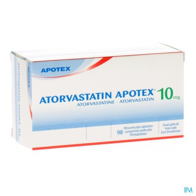 Atorvastatin Apotex 10mg Filmomh Tabl 98 X 10mg