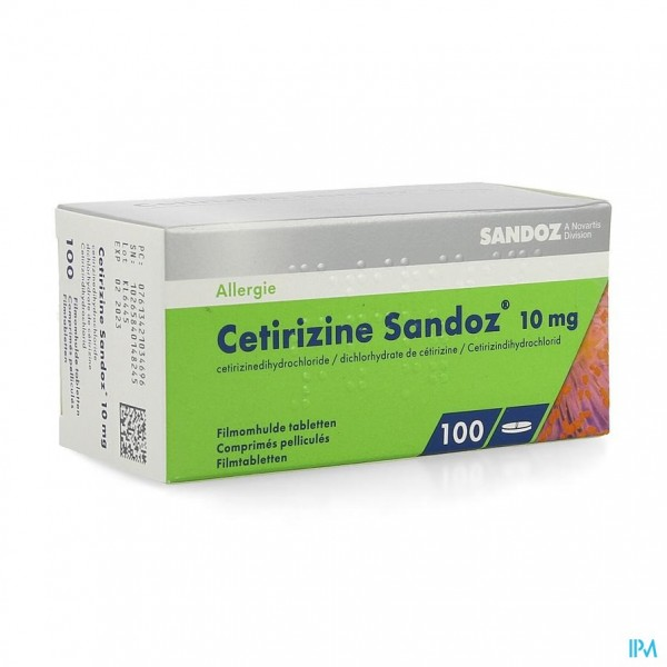 Cetirizine Sandoz comp 100 X 10mg
